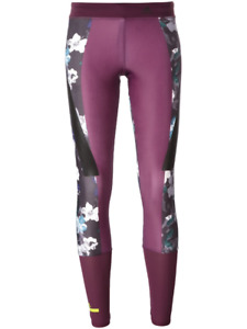 adidas by Stella McCartney Womens Climalite Floral Purple Activewear Tights Sz L