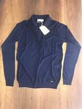 Brioni Knitwear Men Long Sleeve Polo T- Shirt Rhombus Color Blue size M