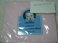 New Gerber Cotton Fitted Knit Bassinet Sheet -  Solid Pink   NIP 16x32
