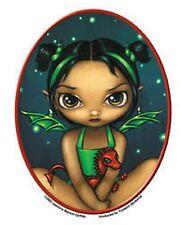 "Jasmine's Green Dragonling Sticker Green Winged Fairy 3.75""x5"" die-cut"