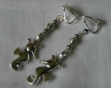 Handmade clip on earrings tibetan silver seahorses and silver crystals lovely