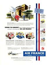 1952 Air France PRINT AD Airlines Paris in the Spring Fun Colorful Art Decor
