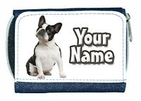 FRENCH BULLDOG (BLACK & WHITE, BLUE OR FAWN/TAN) PERSONALISED PURSE - NAMED GIFT