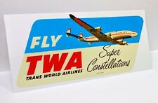 TWA Super Constellation Vintage Style Travel Decal, Vinyl Sticker, Luggage Label