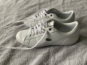 Lacoste Mens Lerond Leather Trainers Plimsolls UK Size 8 White Lace Up