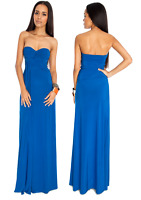 Long Blue Ruched Grecian Strapless Evening Party Prom Maxi Dress Size 8-12 Ball