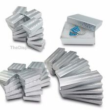 100 pcs Silver Foil Cotton Filled Jewelry Gift Boxes With Variety Of Sizes