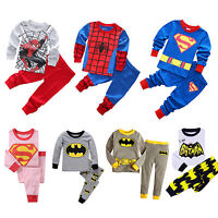 2PCS Kids Spiderman Batman Pajamas Boys Girls Sleepwear Nightwear Outfits Sets