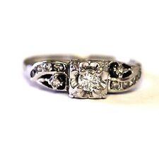 14k white gold .25ct VS2 H diamond round engagement ring 3.4g sz 6 ladies estate