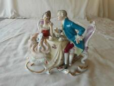 Vintage German Dresden Lace Colonial Couple Courting Sitting At Table Figurine