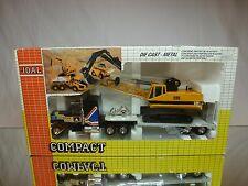 JOAL COMPACT 323 US TRUCK + CATERPILLAR CAT 225 EXCAVATOR - YELLOW 1:50 - GIB