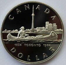 1984 CANADA PROOF SILVER DOLLAR HEAVY CAMEO COIN