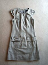 Good cond Next sz 10 wool blend beige check shift dress / pinafore cap sleeves