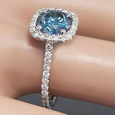 14k white gold round cut blue sapphire and diamonds engagement ring halo 2.10ctw