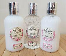 Set of 3 Vintage Bouquet Gift Shower Gel, Bath Milk & Hand Lotion 100mls Beauty