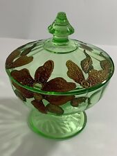 Depression Glass Covered Candy Dish Green Vaseline? Gilt