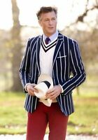2018 NEW Navy White Striped Men's Jackets Coats Blazers 38 40 42 44+ Custom Size