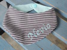 Baby Dreieckstuch Wendehalstuch Halstuch mit Name braun ringel türkise Handmade