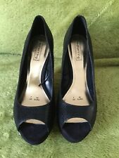 Ladies Red Herring Black Wedge Shoes Size 7