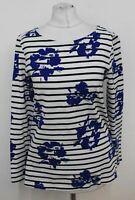 HOBBS Ladies Breton Raine Ivory Blue Cotton Striped Floral Top Size S NEW