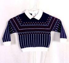VINTAGE ANNI '60 70 BAMBINO DEL Rétro con colletto GEOMETRICO sci maglione