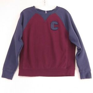 Champion Women's M Sweatshirt Varsity Letter Style Patch Logo Dark Red Blue Crew
