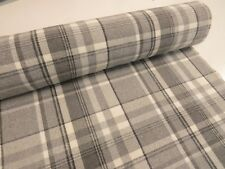 DOVE GREY CHECK Balmoral Wool Effect Tartan Upholstery Curtain Fabric Cushions