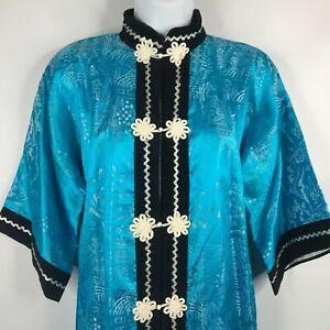 Vintage 80s JOLI Japanese Blue Satin Chinoiserie Shirt Dress Frog Buttons Size M