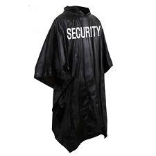 Security bouncer black raincoat poncho rain jacket security silk screen 3687