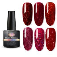 MEET ACROSS Gel Nail Polish Soak Off UV Gel Colour LED Sequined Glitter Red 8ml