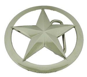 Star Lone Texas Western Deputy Ranger Sheriff Badge Belt Buckle Silver Chrome