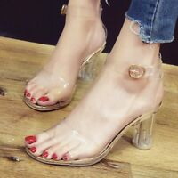 Women's Clear Pvc sandals Women Transparent Crystal Sandals Round Heel Shoes