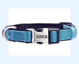 KONG Medium Blue  Comfort Padded HTF Steel Buckle Dog Collar S