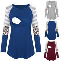 Women Maternity Casual Long Sleeve Nursing Patchwork Top Breastfeeding Blouse AU