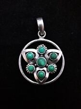 Large Malachite Pendant 925 Sterling Silver Unique