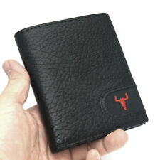 Black Wallets For Men Bi-fold Credit Card Purse Zipper Pocket ID Photo Window