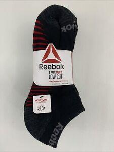 REEBOK Men's Low Cut Socks Pkg of 6 Size 6-12.5 Cushioned Moisture Control Black