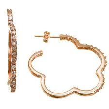 Silver Open Clover Hoop Earrings-Cz-Vermeil Pave 5A Cubic Zirconia Rose Sterling