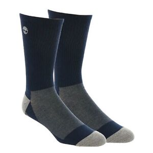 Timberland Men's 186472 Cooltouch Poly Navy Crew Cut Socks Shoes Size L