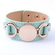 "NEW Aqua Leather MONOGRAM READY Gold Horsebit Bracelet Bangle Cuff Wrap 8.5"""