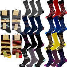 3 Pairs Men's Alexander Green luxury Bamboo Designer Socks Stripes,Paisley 7-11