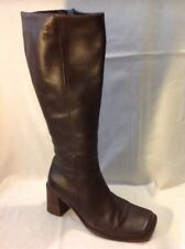 Bronx Brown Knee High Leather Boots Size 38