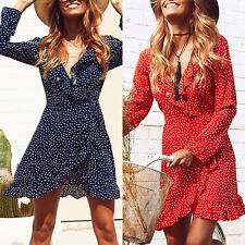 Women's Casual Polka-dot Falbala Long Sleeve V-neck Chiffon Short Dress S-XL