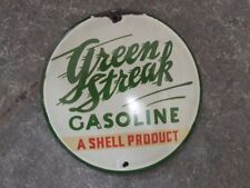 Porcelain Green Streak Gasoline Enamel sign 6 Inches