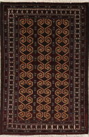 3x4 Geometric Balouch Bokhara Afghan Area Rug Wool Hand-Knotted Oriental Carpet