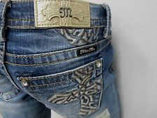 NWT Miss Me Medium Wash Mid Rise Cross Pocket Slim Boot Cut Denim MP7806SB 29x34