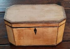 More details for fine georgian satinwood tea caddy with harewood and kingwood inlay