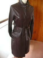 Vintage Ladies NEXT oxblood brown real leather COAT trench 16 14 belt long line