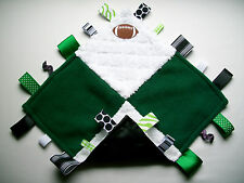 Super Soft, Cuddly & Silky Handmade Green&White w/Football Tag/Security Blanket