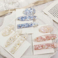 Women's Vintage Oval Acrylic Hair Clip Hairpin Slide Grips Clear Barrette Gifts